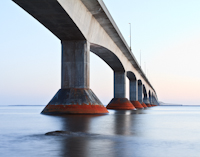 The Confederation Bridge from the base of the bridge.