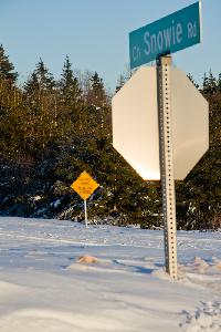 The Snowie Road bares its name with a sign saying it's not plowed