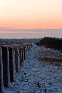 Golf Shore Parkway in the National Park on Prince Edward Island has some snow and ice over it after a recent snow fall.