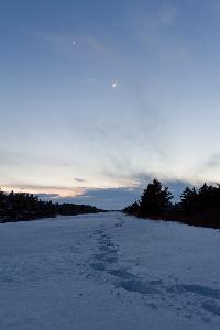 A snow shoers tracks during the winter time in Cavendish National Park